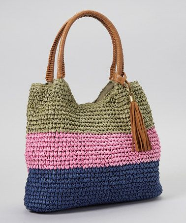 Look what I found on #zulily! Green & Pink Stripe Straw Tote by Straw Studios #zulilyfinds