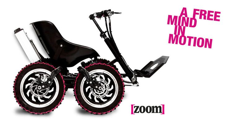 Side view of the Zoom. The Zoom is an all terrain electric powered mobility device.