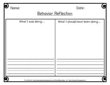 Behavior Reflection Thinking Sheet. Write or draw behaviors.