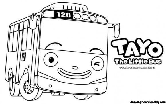 Tayo Group Coloring Page Tayo The Little Bus Little Bus Coloring Pages