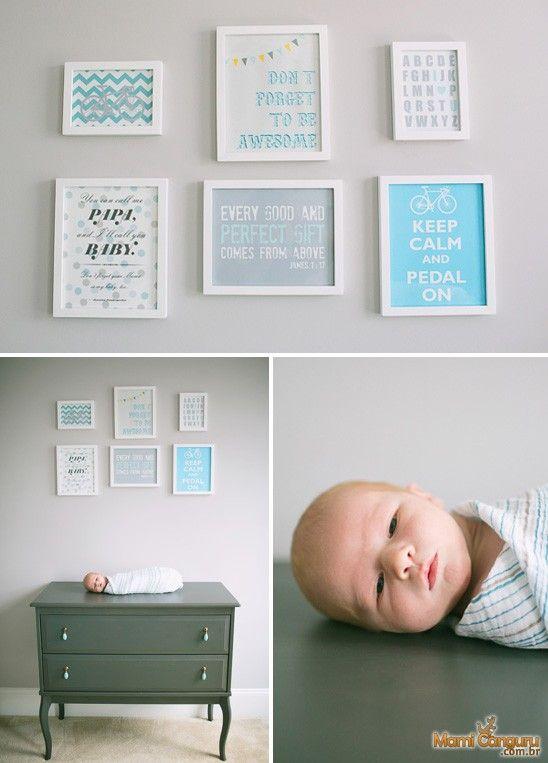 Quarto de bebê – Cinza e Azul Turquesa   Mami Canguru