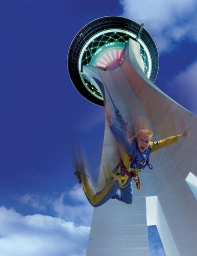 Free Fall From Las Vegas Stratosphere So much fun!! I need to convince myca to do this! HAHA<--I chickened out. Trying to figure out how to get in with just enough of a buzz to jump.