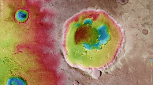 Colour-coded topography map of Rabe crater and its immediate surroundings.