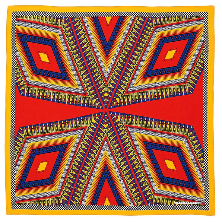 Only primary colours are used giving it a bright and joyful feeling. The shape in this pattern is a seven diamonds layered. This piece is a mirrored pattern the man motif being the diamond which has been repeated three times and then mirrored. Lines in this are very defined and stand out mostly because of the colour choice.