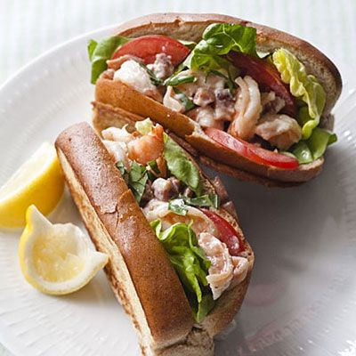 These Shrimp Rolls are absolutely yummy and so easy...all you have to buy cooked shrimp! Ingredients: Shrimp, reduced-fat mayo, lemon juice, basil, whole-wheat hot dog buns, tomatoes, lettuce | health.com