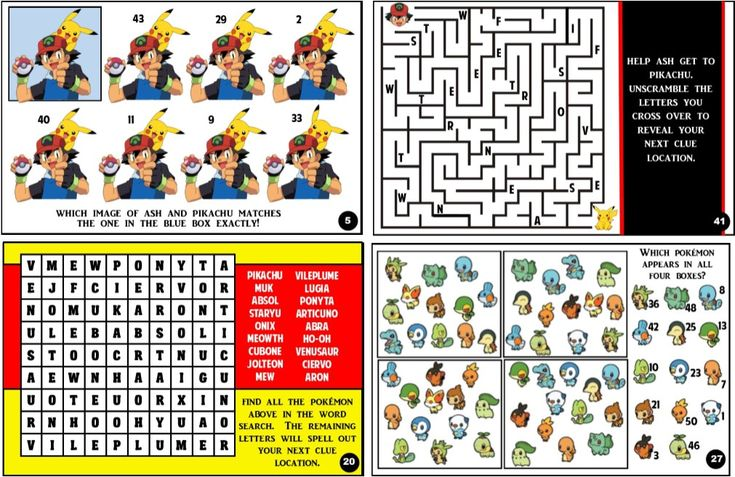 This printable Pokemon treasure hunt is the perfect kids pokemon Birthday party game. Clues made up using images, trivia, brain teasers, puzzles, and more.