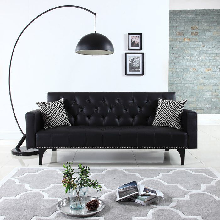 Modern Tufted Sleeper Sofa Futon Living Room Black Furniture Living Room Living Room Sets Furniture