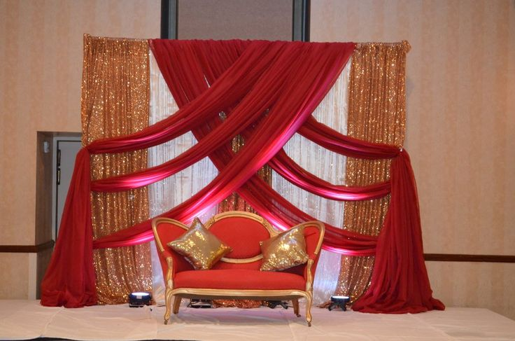 Gold Red Ivory Backdrop Rental Indian Wedding & Event Backdrop Rentals Maryland. Backdrop Draping Rentals For Lady Sangeet, Henna , Ceremony, Reception, Engagement Party, Bridal Shower, Baby Shower, Birthday #backdrop #wedding #decor #decorator #Maryland #rental #lady sangeet #Indian #Pakistani #event #draping #arch #ceremony #galapartiesinc