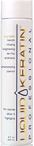 Liquid Keratin Infusing Brightening De-Frizz Shampoo for Blonde / Silver & Highlights, 8 fl. oz.:   Say goodbye to color fading and that unwanted yellow! Our blue/violet shampoo and conditioner combines a special Color Enhancing Sunflower Seed Extract and other key antioxidants with our Keratin Protein Complex to gently clean and condition hair, while protecting & restoring color, preventing yellowing, and brassiness.