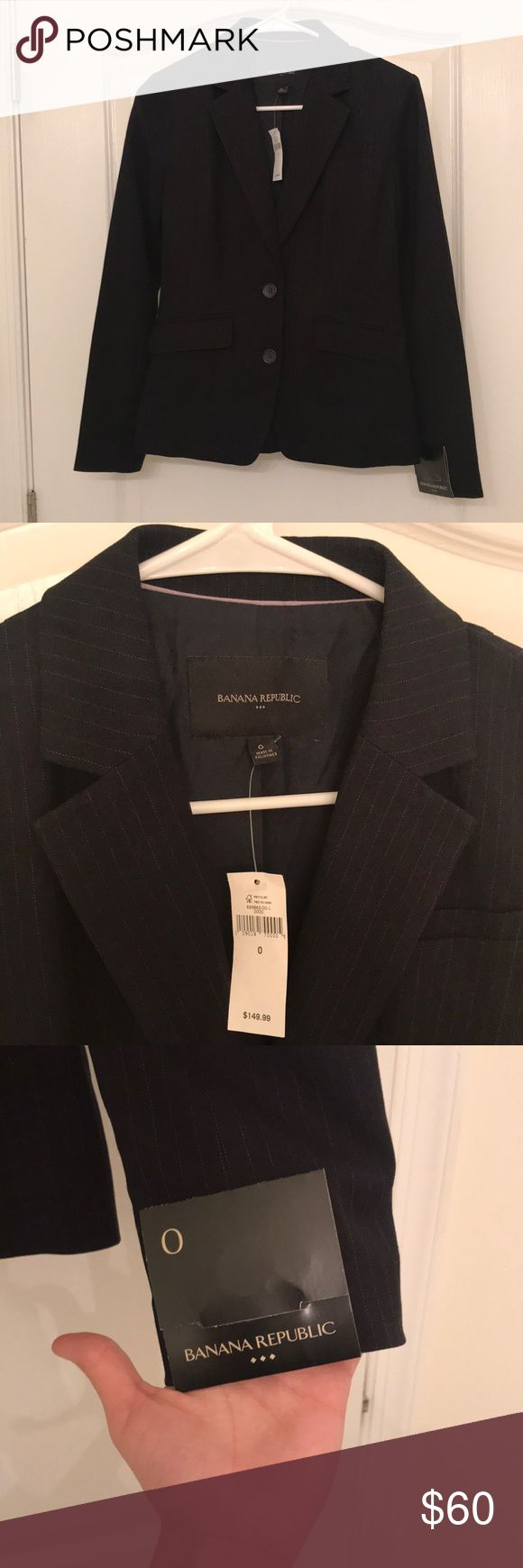 BR navy pinstripe suit jacket Never worn. Perfect condition. Navy pinstripe with a lavender detail on the inside of the lapel. All buttons and stitching intact. Banana Republic Jackets & Coats Blazers