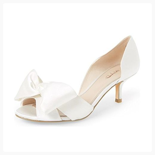 cc66584f52ca88 XYD Wedding Dress D orsay Pumps Peep Toe Low Kitten Heel Slip On Sandals  Shoes With Bowknot Size 9 Ivory ( Partner Link)