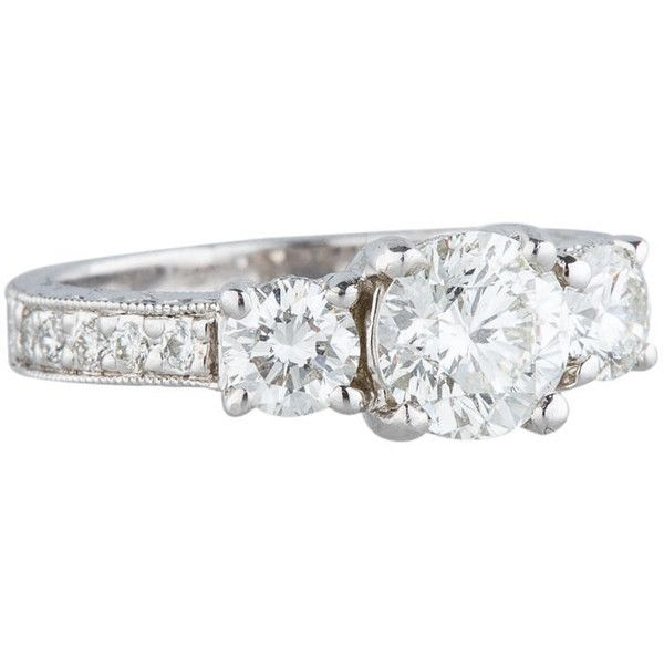 Pre-owned Three Stone Diamond Engagement Ring (14,270 CAD) ❤ liked on Polyvore featuring jewelry, rings, silver, round diamond ring, pre owned diamond rings, pre owned engagement rings, round ring and diamond jewellery