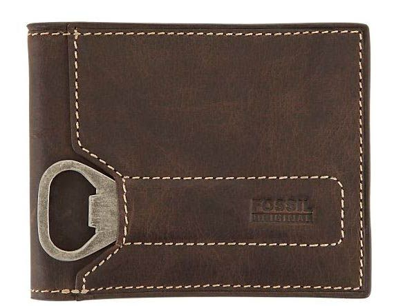 Just when we thought we've seen every cool keychain bottle opener known to man, Fossil impresses us by attaching one to a wallet. The Fossil Bifold Bomber is made of full grain leather, includes 8 card slots, 2 slip pockets and one bill compartment… and did we mention the bottle opener? Awesome.