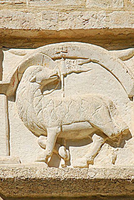 Preci (PG) - Abbazia di Sant`Eutizio. L`Agnus Dei. Bassorilievo del Portale d'ingresso
