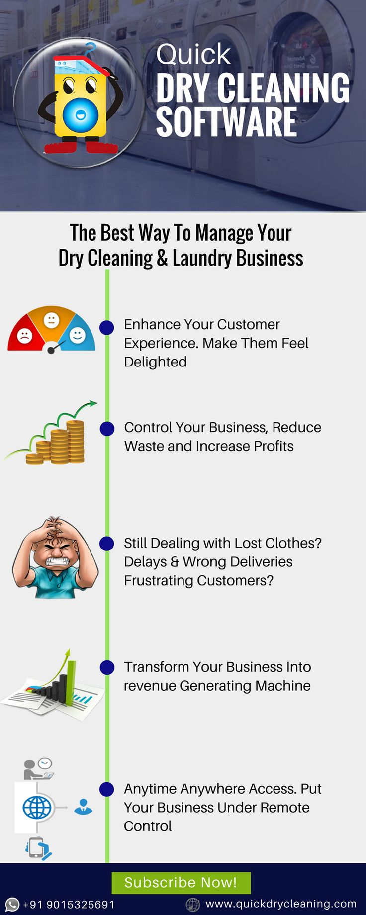 Are you still managing your Dry Cleaning Business in the old way?  Now it's time to bring a change. Subscribe to Quick Dry Cleaning Software and Scale Up your business like never before.