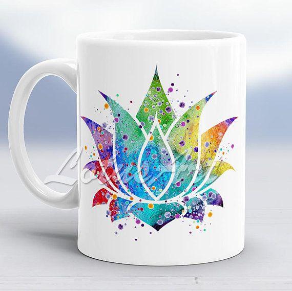 Colorful Lotus Watercolor Mug Lotus Flower Custom Mug Coffee Mug