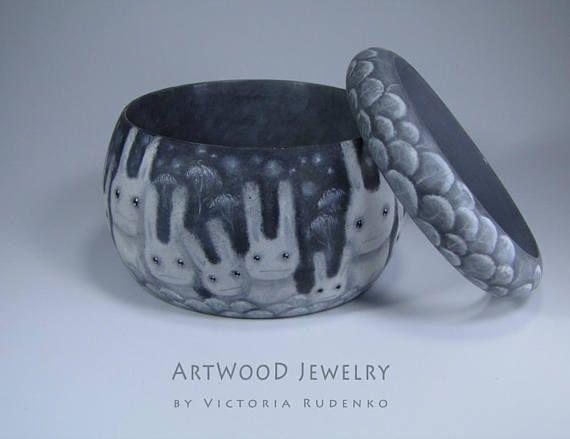 Painted Jewelry Wild Wooden Bracelet  Unique Hand Work Luxury