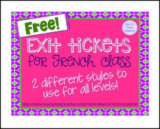 """FREE LESSON - """"French exit tickets/ billet de sortie"""" - Go to The Best of Teacher Entrepreneurs for this and hundreds of free lessons. 6th - 12th Grade  #FreeLesson   http://www.thebestofteacherentrepreneurs.org/2016/06/free-misc-lesson-french-exit-tickets.html"""