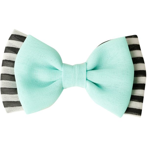 Mint Black & White Striped Hair Bow | Hot Topic ($3.50) ❤ liked on Polyvore featuring accessories, hair accessories, hair bow accessories и black and white hair bows