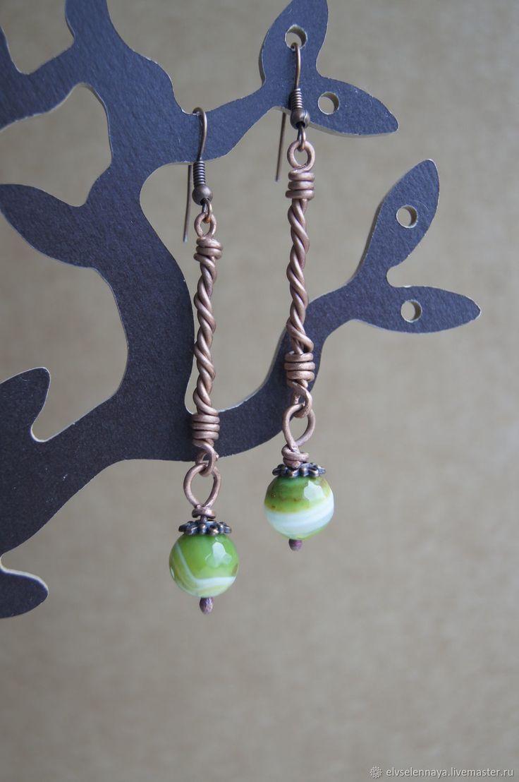Купить Серьги с бусинами из халцедона - зеленый, халцедон, медная проволока, украшения ручной работы