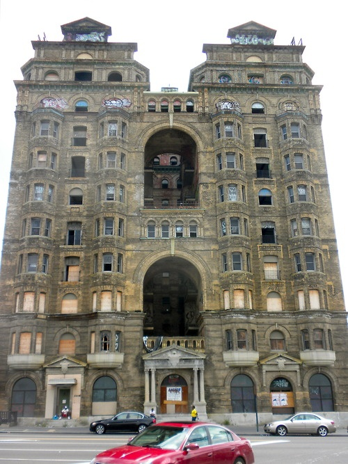 The abandoned Divine Lorraine Hotel - Philadelphia PA  (check out thatgraffitiat the top)