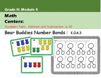 Your learners will get valuable practice telling about the parts and the whole using these colorful Bear Buddies cards with the provided number bonds worksheet. Use the cards alone for group practice making number bonds as well! This center is aligned to the standard (K.OA.3) as well as EngageNY Module 4.