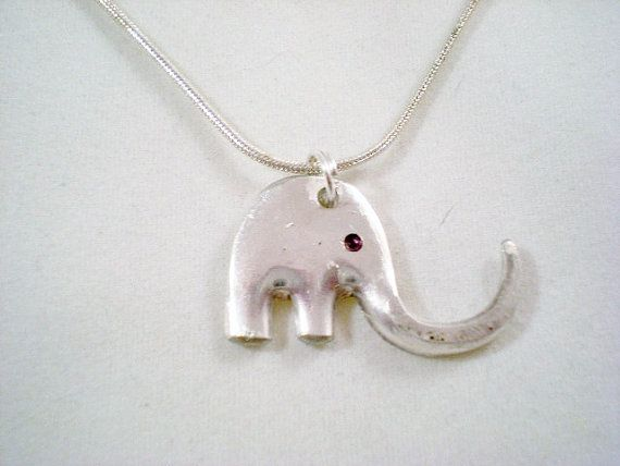 Baby Elephant Fork Pendant, Silverware Jewelry, Pendant Necklace, Stocking Stuffer, Recycled, on Etsy, $16.00