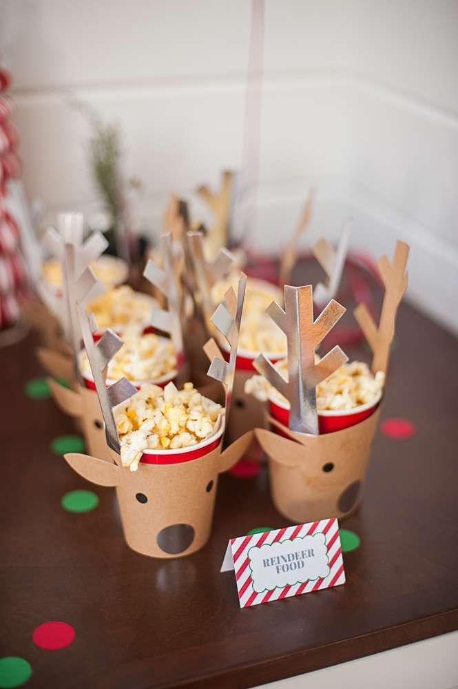 Reindeer treats at a Santa Christmas party! See more party planning ideas at CatchMyParty.com!