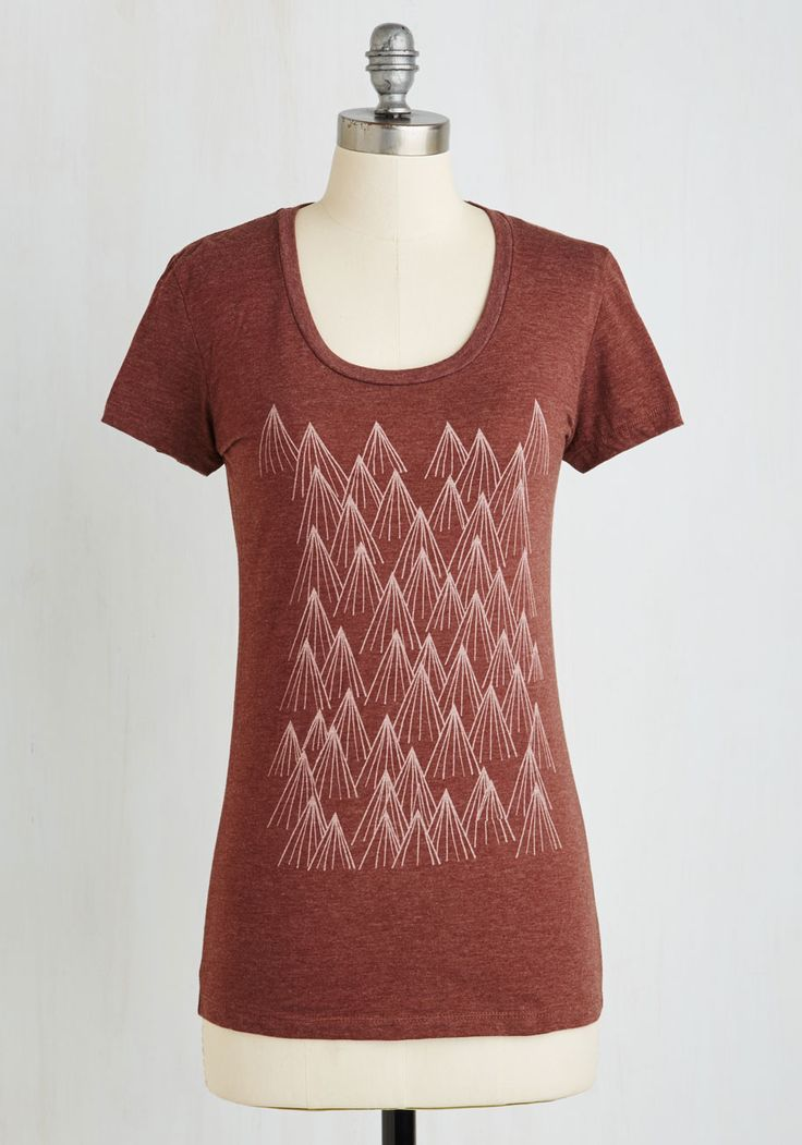 Peak of Unique Tee - Red, Print, Casual, Travel, Short Sleeves, Jersey, Knit, Good, Exclusives, Scoop, Mid-length, Rustic