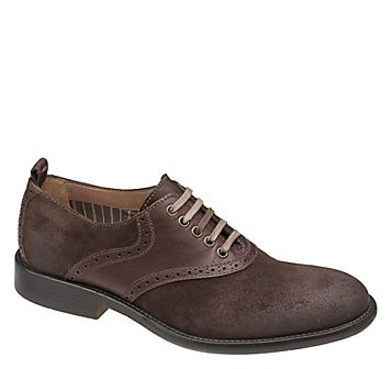 """Johnston & Murphy """"Decatur"""" brown suede and leather saddle shoes with tea stained laces.  J Gilroy outlets 6.2013"""