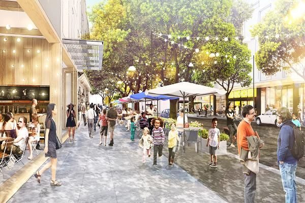 """A rendering for part of Facebook's """"Willow Campus"""" development in Menlo Park, California."""