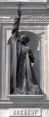 JEAN DE BRÉBEUF  Né à Condé-sur-Vire en France.  On le compte parmi les saints qu'on appelle les saints martyrs canadiens-québécois   Il débarque à Québec en 1625 pour la nouvelle mission de sa communauté.   On est en Nouvelle-France à ce moment là.