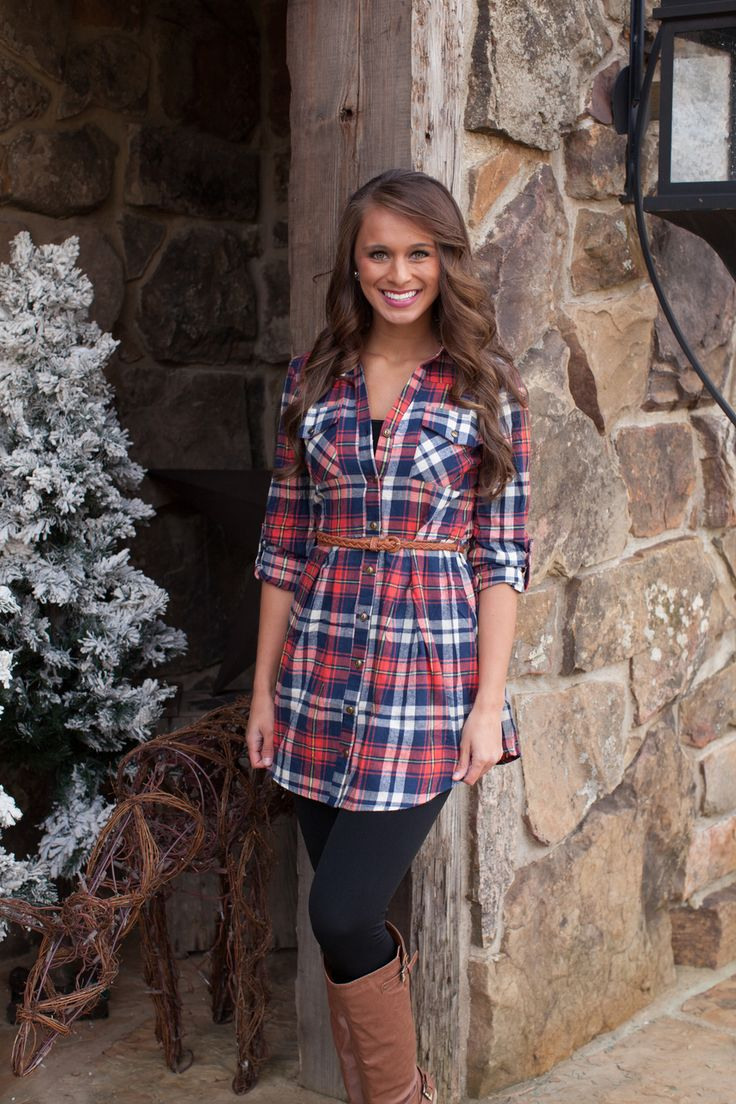 The Pink Lily Boutique - Red Plaid Belted Tunic Dress, $42.00 (http://www.thepinklilyboutique.com/red-plaid-belted-tunic-dress/)