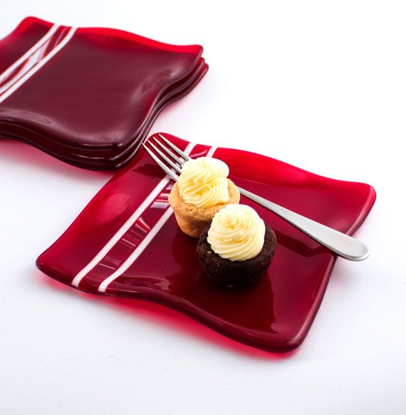 Red Fused Glass Plates, Dessert Dishes, Dinnerware Set, Square Dinner Plates, 3rd Anniversary, Unique Wedding Gifts for Couples