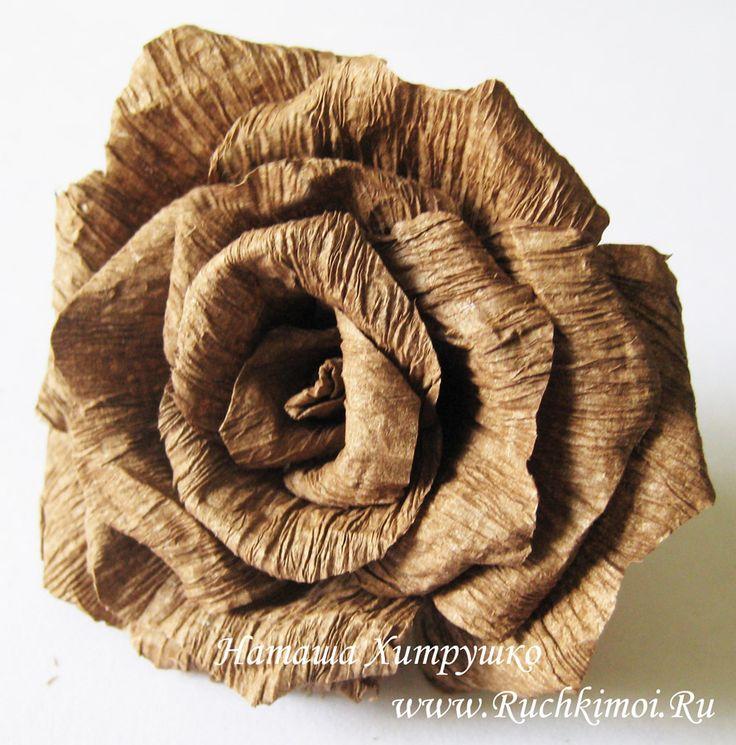 Роза из гофрированной бумаги своими руками. Пошаговый МК