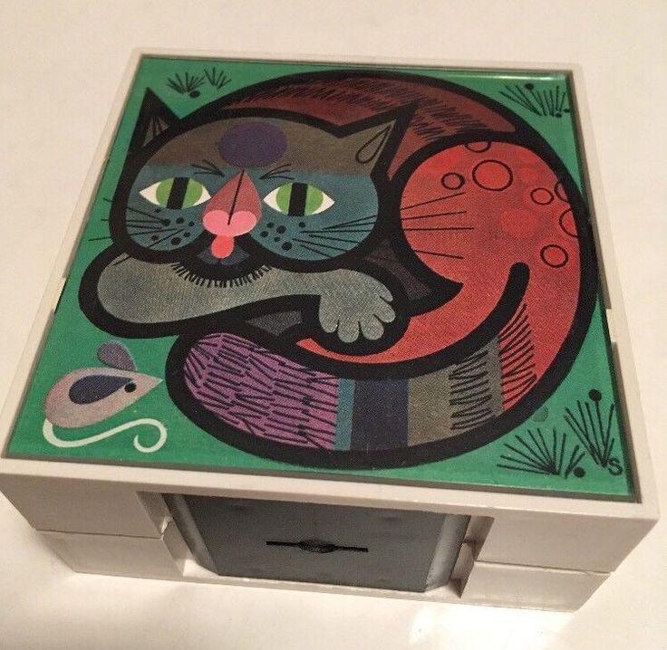 VINTAGE GERMAN VOLKSBANK MONEY BOX CAT + BUTTERFLY MOTIFS Kenneth Townsend Era  | eBay