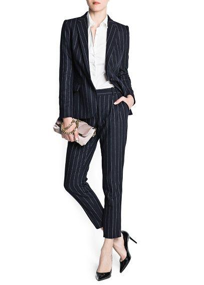 Шерстяной костюмный блейзер в тонкую полоску