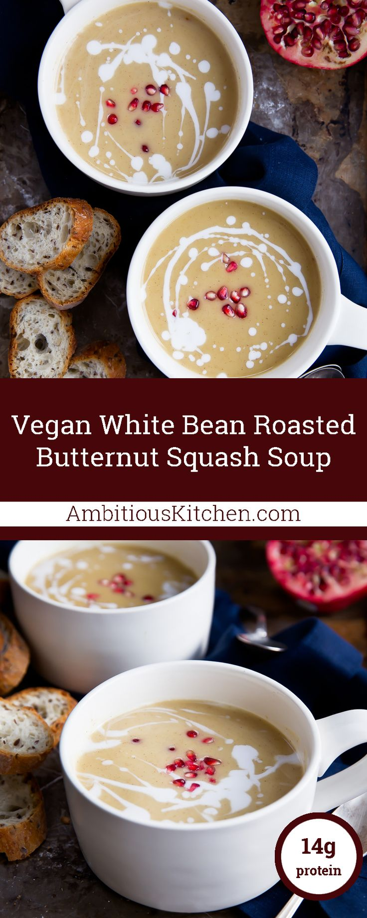 vegan white bean roasted butternut squash soup lunch recipes soup ...