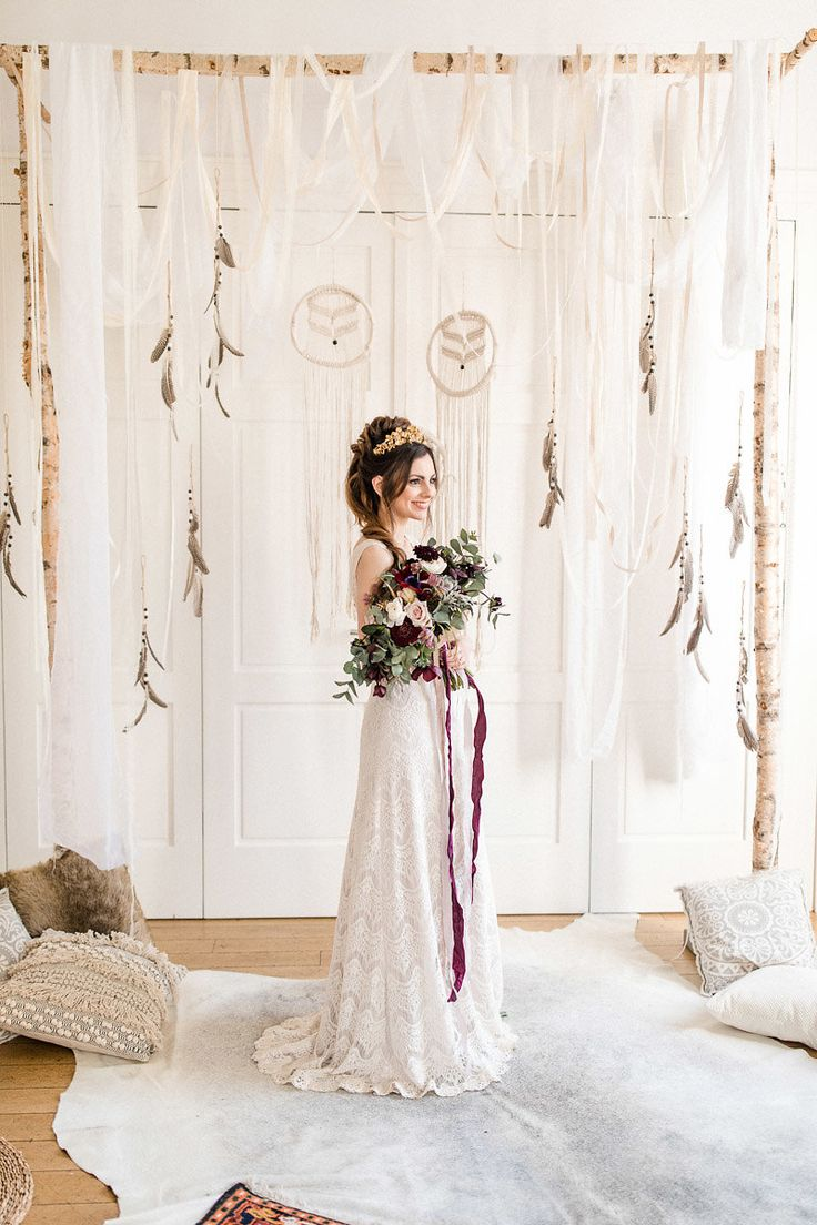 Boho wedding with pampas grass