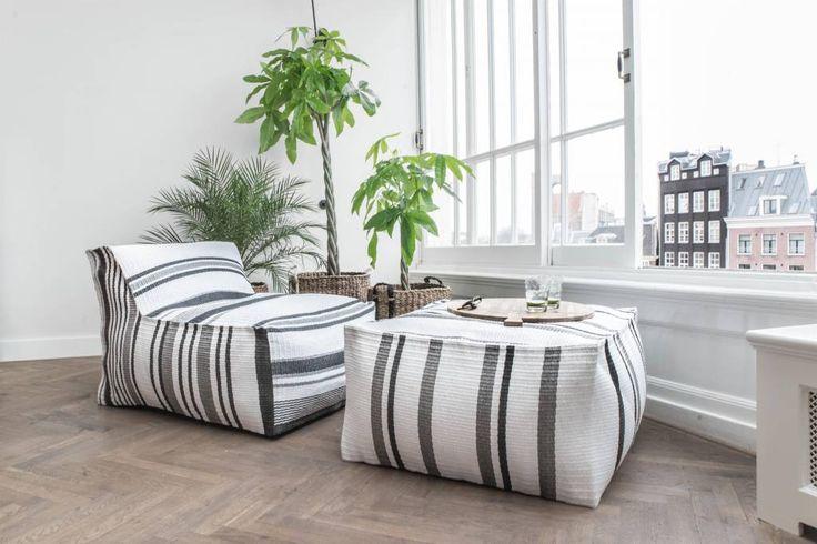 HK-living Lounge bank Lagune binnen en buiten zwart/wit/grijs 160x100x70cm - wonenmetlef.nl
