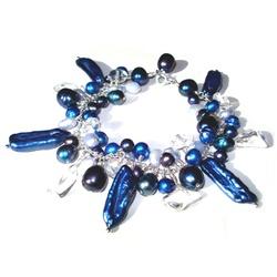 Blue assorted pearl bracelet, contemporary pearl jewellery £45 #pearl #bracelet #blue #jewellery #jewelry