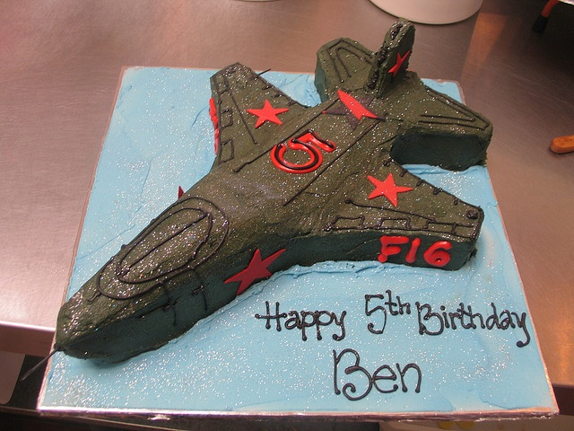 Fighter jet F16 birthday cake by Charly's Bakery, via Flickr