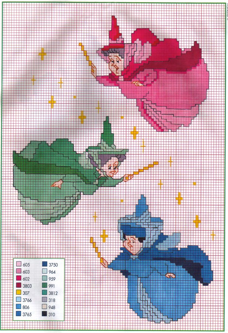 Free cross stitch pattern - Fauna, Flora and Meriweather from Disney's Sleeping Beauty