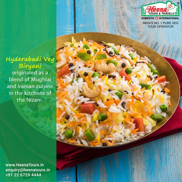Hyderabadi Veg Biryani originated as a blend of Mughlai and Iranian cuisine in the kitchens of the Nizam. Don't forget to try this special dish of Hyderabad when you are on Hyderabad tour with Heena.