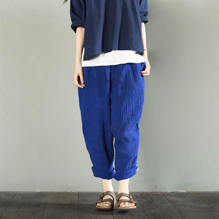Blue Linen Turnip Pants Women Trousers LR706