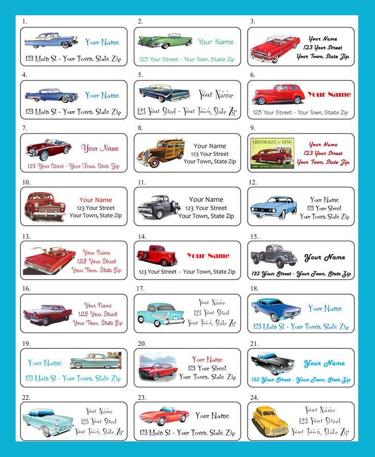 Old CLASSIC CARS Personalized Return Address Labels - 30 labels per sheet