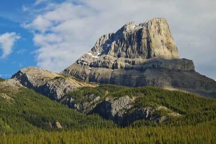 Jasper National Park. The beautiful Roche Miette. You can see this majestic beauty from the lodge and although it looks quite steep there is a scramble that goes up the side for those looking for an awesome mountain experience and unbelievable view