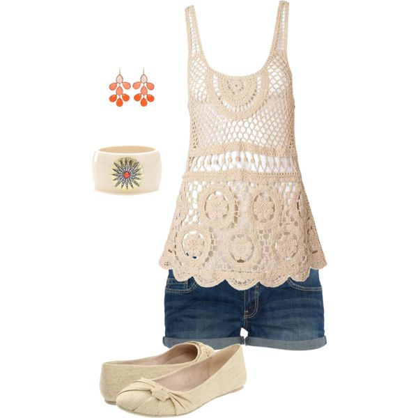 """Layla tank, jean shorts"" by missyalexandra on Polyvore"