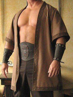 Medieval Celtic Viking Barbarian Short Sleeves Coat Vest Jacket