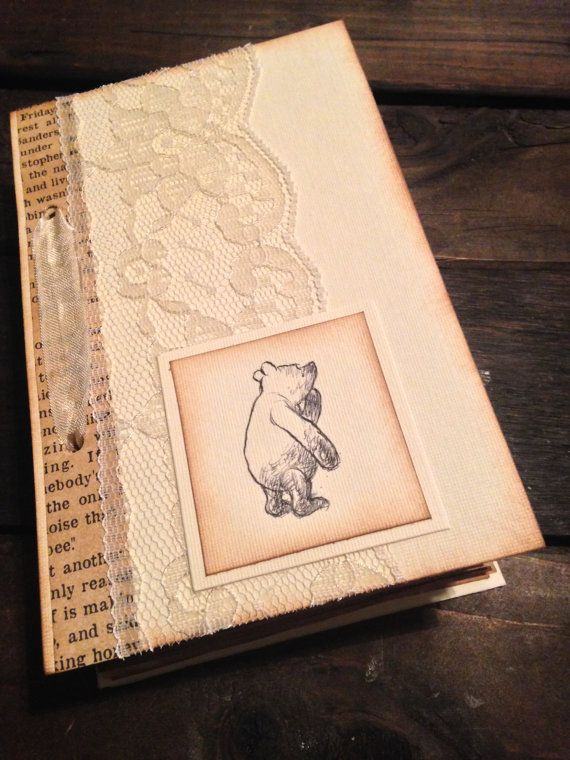 Baby Shower Guest Book - Lace Vintage Winnie - Pooh Antique Book pages - by Theturningofapage